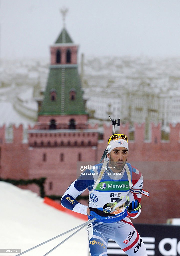 France's Martin Fourcade competes on April 6, 2013 in the men's biathlon mass start during the Champion's Race in Moscow.