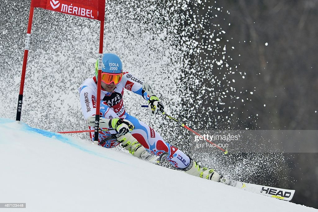 France's <a gi-track='captionPersonalityLinkClicked' href=/galleries/search?phrase=Mathieu+Faivre&family=editorial&specificpeople=7462236 ng-click='$event.stopPropagation()'>Mathieu Faivre</a> competes in the first run of the Men's Giant Slalom race at the FIS Alpine Skiing World Cup finals in Meribel on March 21, 2015.