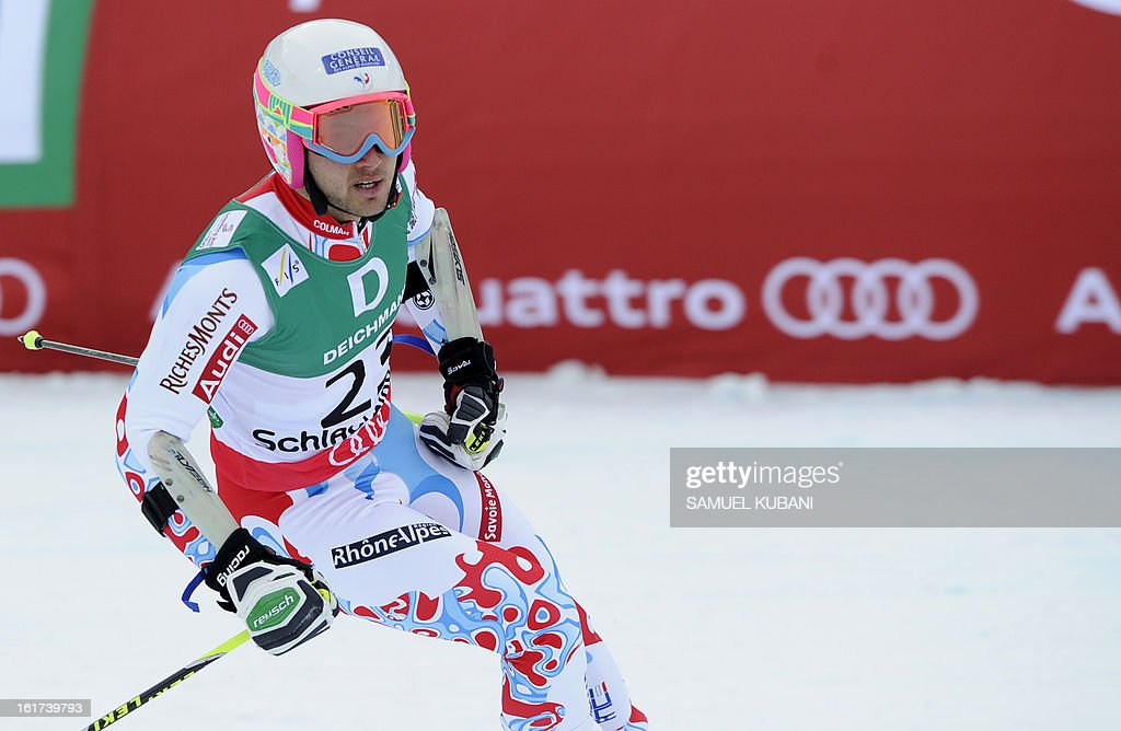 France's Mathieu Faivre reacts after the second run of the men's Giant slalom at the 2013 Ski World Championships in Schladming, Austria on February 15, 2013.