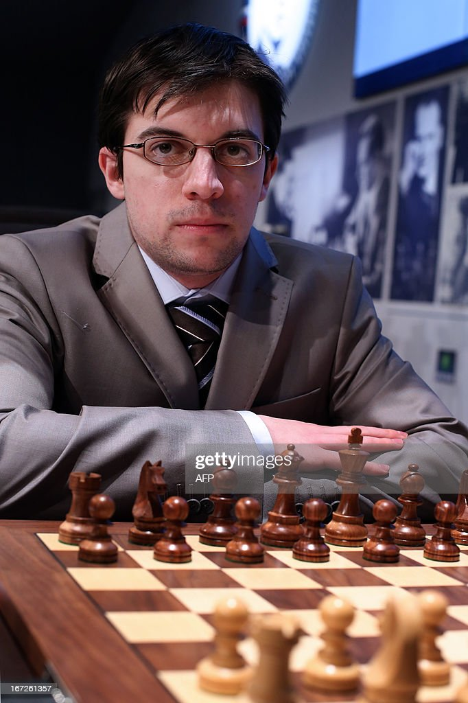 France's Maxime Vachier-Lagrave waits for the start of his round 3 game of the Alekhine Memorial chess tournament on April 23, 2013 in Paris. The tournament is a 10-player single round competition, with the first half held in Paris from April 20 to 25, and the second half in the Russian State Museum in St. Petersburg from April 26 to May 1st.