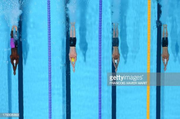France's Mehdy Metella Australia's Tommaso D'Orsogna Poland's Pawel Korzeniowski and Russia's Evgeny Korotyshkin compete in the heats of the men's...