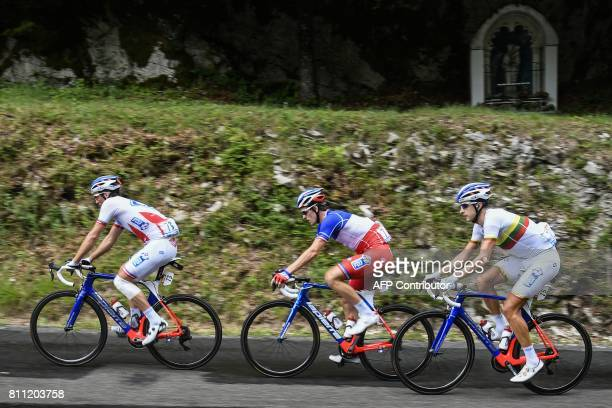 France's Mickael Delage France's Arnaud Demare and Lithuania's Ignatas Konovalovas ride during the 1815 km ninth stage of the 104th edition of the...