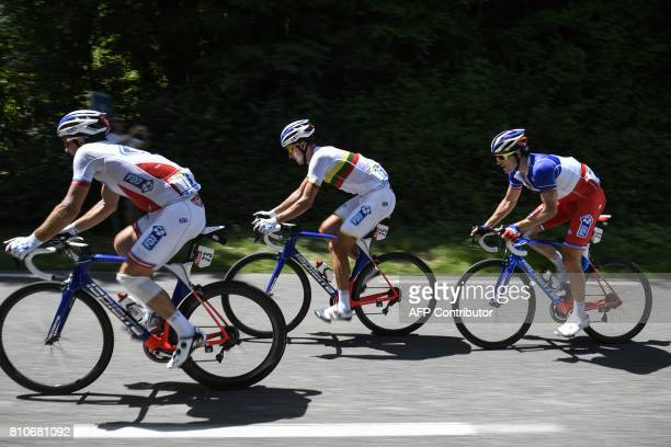 France's Mickael Delage Lithuania's Ignatas Konovalovas and France's Arnaud Demare ride during the 1875 km eighth stage of the 104th edition of the...
