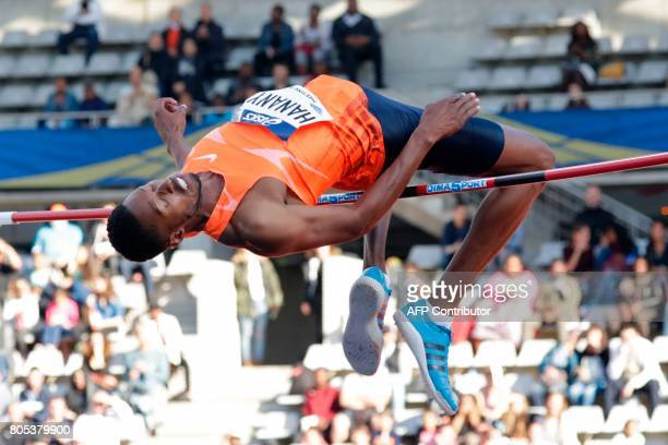 France's Mickael Hanany competes in the High Jump Men event of Paris' Diamond League athletics meeting on July 1 2017 in Paris / AFP PHOTO / Thomas...