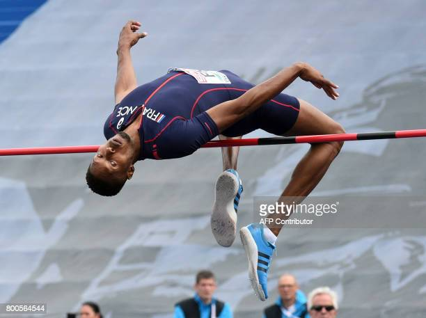 France's Mickael Hanany competes to win the men's high jump final during the European Athletics Team Championships at the Lille Metropole stadium in...