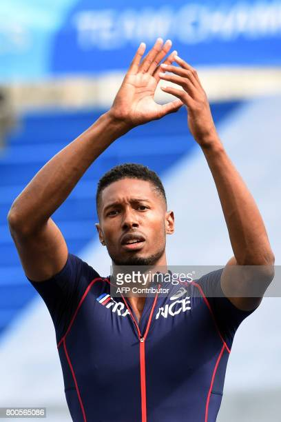 France's Mickael Hanany reacts after winning the men's high jump final during the European Athletics Team Championships at the Lille Metropole...