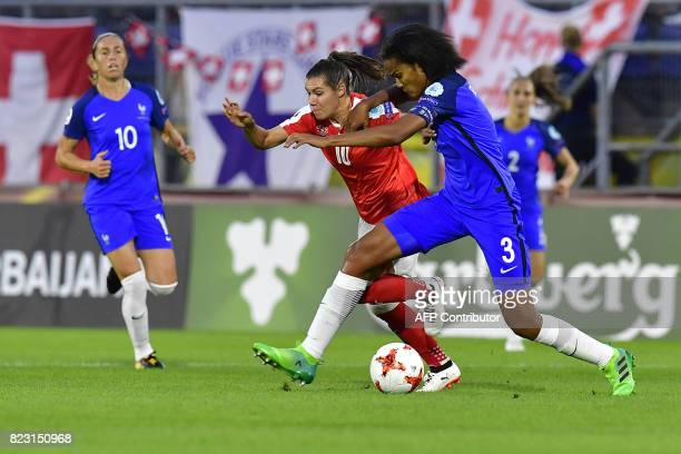 France's midfielder Abily Camille challenges Switzerland's forward Ramona Bachmann during the UEFA Women's Euro 2017 football match between...