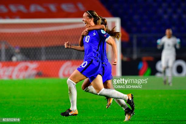 France's midfielder Abily Camille reacts after scoring during the UEFA Women's Euro 2017 football tournament between Switzerland and France at Rat...