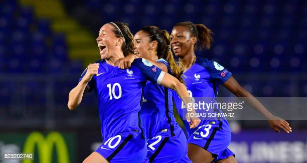 France's midfielder Abily Camille reacts with teammates after scoring during the UEFA Women's Euro 2017 football tournament between Switzerland and...