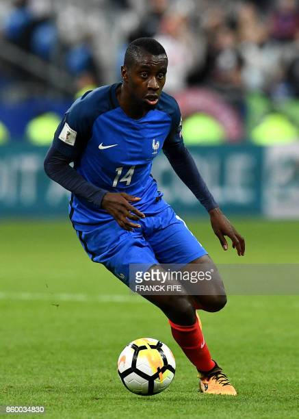 France's midfielder Blaise Matuidi controls the ball during the FIFA World Cup 2018 qualification football match between France and Belarus at the...