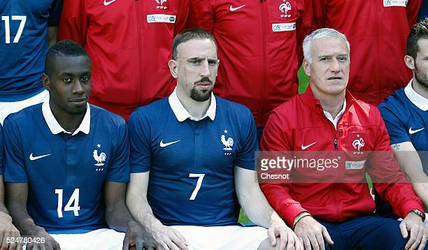 France's midfielder Blaise Matuidi France's forward Franck Ribery and head coach Didier Deschamps pose for the team picture at the French national...