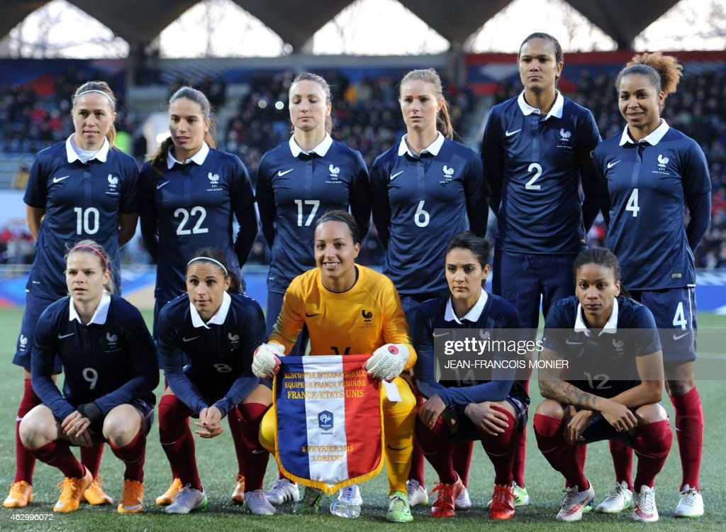 - France's midfielder <a gi-track='captionPersonalityLinkClicked' href=/galleries/search?phrase=Camille+Abily&family=editorial&specificpeople=2151492 ng-click='$event.stopPropagation()'>Camille Abily</a>, France's defender Amel Majri, France's forward Gaetane Thieney, France's midfielder <a gi-track='captionPersonalityLinkClicked' href=/galleries/search?phrase=Amandine+Henry&family=editorial&specificpeople=4432019 ng-click='$event.stopPropagation()'>Amandine Henry</a>, France's defender <a gi-track='captionPersonalityLinkClicked' href=/galleries/search?phrase=Wendie+Renard&family=editorial&specificpeople=5780578 ng-click='$event.stopPropagation()'>Wendie Renard</a>, France's defender <a gi-track='captionPersonalityLinkClicked' href=/galleries/search?phrase=Laura+Georges&family=editorial&specificpeople=2333299 ng-click='$event.stopPropagation()'>Laura Georges</a>, - France's forward <a gi-track='captionPersonalityLinkClicked' href=/galleries/search?phrase=Eugenie+Le+Sommer&family=editorial&specificpeople=1026277 ng-click='$event.stopPropagation()'>Eugenie Le Sommer</a>, France's defender Jessica Hoauara, France's goalkeeper <a gi-track='captionPersonalityLinkClicked' href=/galleries/search?phrase=Sarah+Bouhaddi&family=editorial&specificpeople=2351270 ng-click='$event.stopPropagation()'>Sarah Bouhaddi</a>, France's midfielder <a gi-track='captionPersonalityLinkClicked' href=/galleries/search?phrase=Louisa+Necib&family=editorial&specificpeople=2333059 ng-click='$event.stopPropagation()'>Louisa Necib</a>, France's midfielder <a gi-track='captionPersonalityLinkClicked' href=/galleries/search?phrase=Elodie+Thomis&family=editorial&specificpeople=813220 ng-click='$event.stopPropagation()'>Elodie Thomis</a> are pictured before the Women's friendly football match France vs USA on February 8, 2015, at the Moustoir Stadium, in Lorient, western France.