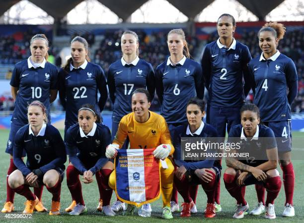 France's midfielder Camille Abily France's defender Amel Majri France's forward Gaetane Thieney France's midfielder Amandine Henry France's defender...