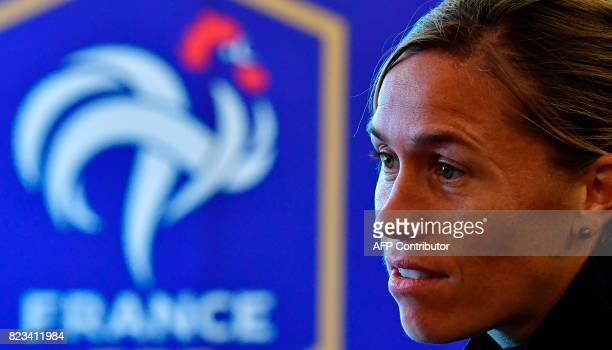France's midfielder Camille Abily gives an AFP interview during the UEFA Women's Euro 2017 football tournament in Zwijndrecht on July 27 2017 / AFP...
