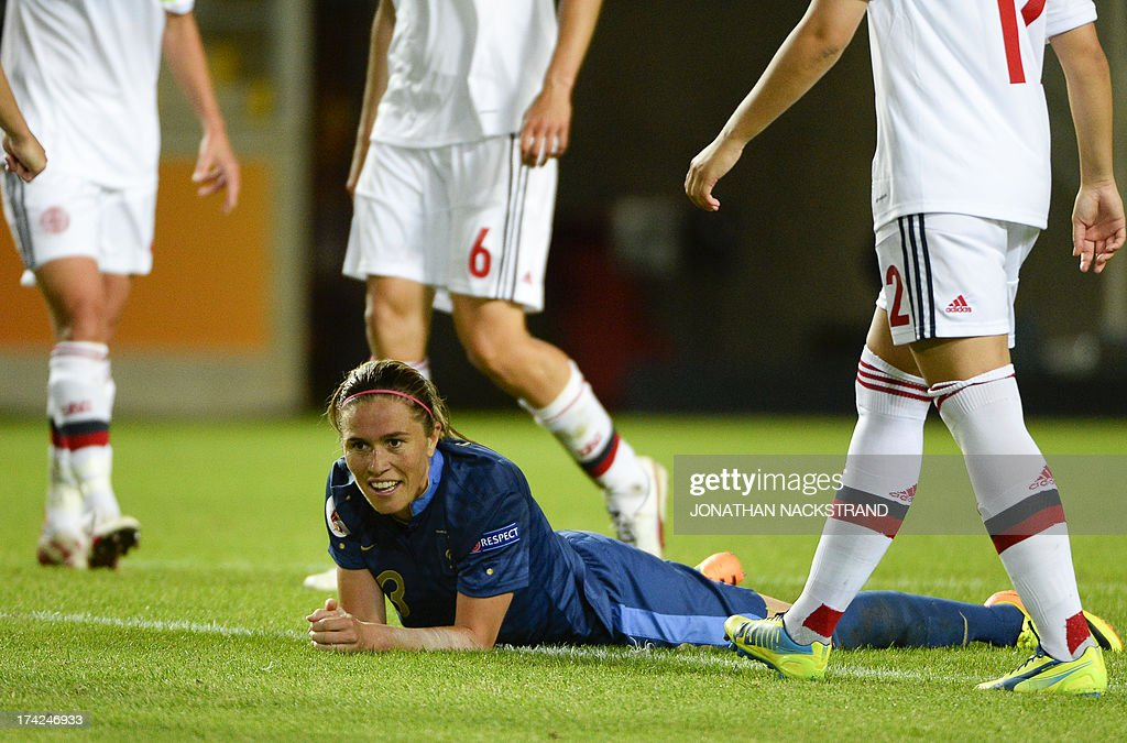 France's midfielder Camille Abily reacts during the UEFA Women's European Championship Euro 2013 quarter final football match France vs Denmark on July 22, 2013 in Linkoping, Sweden.