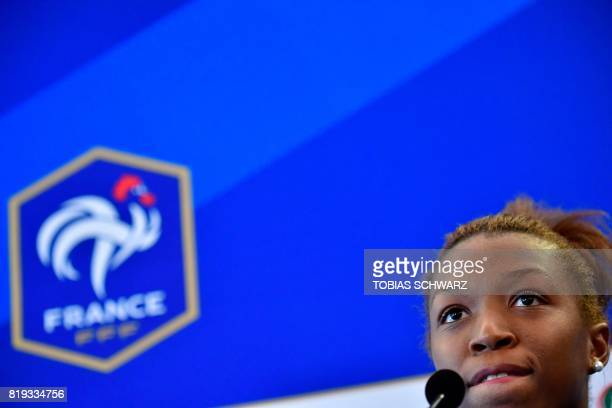 France's midfielder Grace Geyoro delivers a press conference in Zwijndrecht on July 20 during the UEFA Women's Euro 2017 football tournament / AFP...