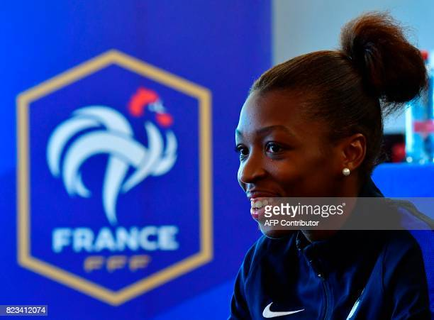 France's midfielder Grace Geyoro gives an AFP interview during the UEFA Women's Euro 2017 football tournament in Zwijndrecht on July 27 2017 / AFP...