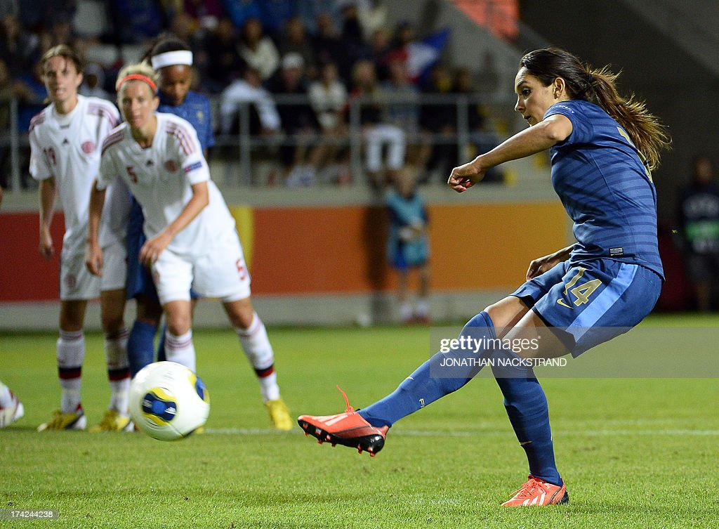 France's midfielder Louisa Necib shoots a penalty to score during the UEFA Women's European Championship Euro 2013 quarter final football match France vs Denmark on July 22, 2013 in Linkoping, Sweden. AFP PHOTO/JONATHAN NACKSTRAND