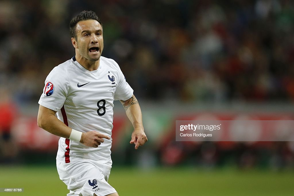 France's midfielder Matthieu Valbuena celebrating France goal during the Friendly match between Portugal and France on September 04, 2015 in Lisbon, Portugal.