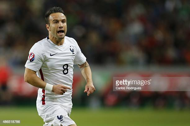 France's midfielder Matthieu Valbuena celebrating France goal during the Friendly match between Portugal and France on September 04 2015 in Lisbon...