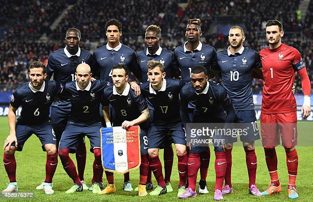 France's midfielder Moussa Sissoko defender Raphael Varane defender Mapou Yangambiwa midfielder Paul Pogba forward Karim Benzema goalkeeper and...