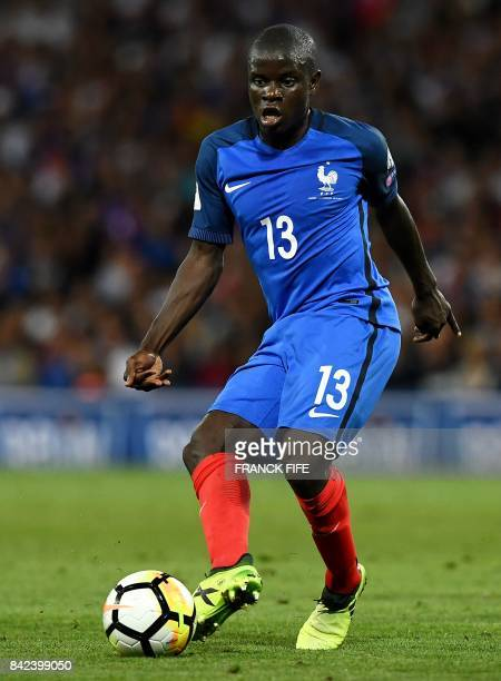 France's midfielder N'Golo Kante controls the ball during the FIFA World Cup 2018 qualifying football match between France and Luxembourg on...