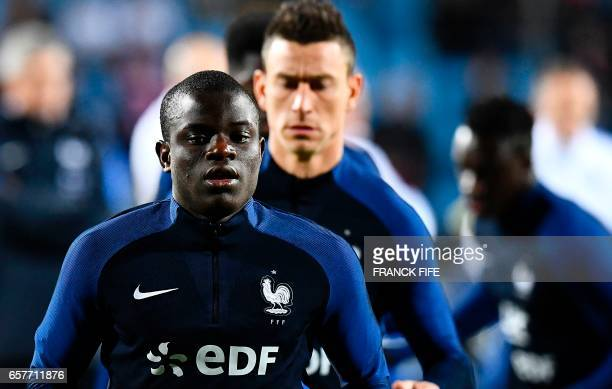 France's midfielder N'Golo Kante prior to the FIFA World Cup 2018 qualifying football match between Luxembourg and France on March 25 at the Josy...