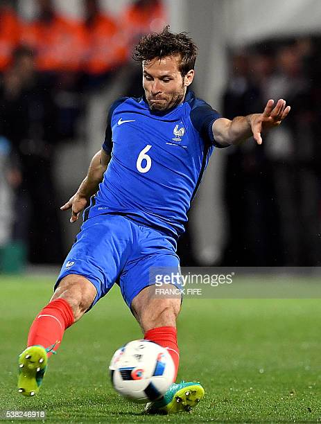 France's midfielder Yohan Cabaye kicks the ball during the friendly football match between France and Scotland at the St Symphorien Stadium in...