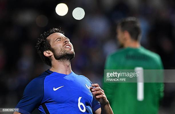 France's midfielder Yohan Cabaye reacts during the friendly football match France vs Scotland at the St Symphorien Stadium in LongevillelesMetz...