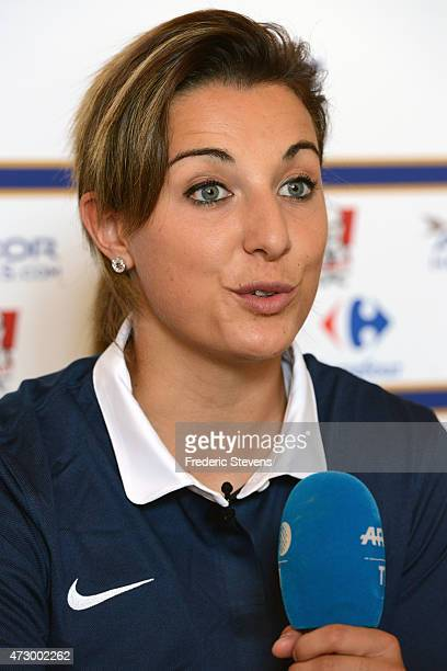 France's milfieder Claire Lavogez during a press conference before a training session as part of the preparation for a upcoming FIFA 2015 World Cup...