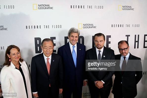 France's Minister for Ecology Sustainable Development and Energy Segolene Royal SecretaryGeneral Ban Kimoon US Secretary of State John Kerry actor...
