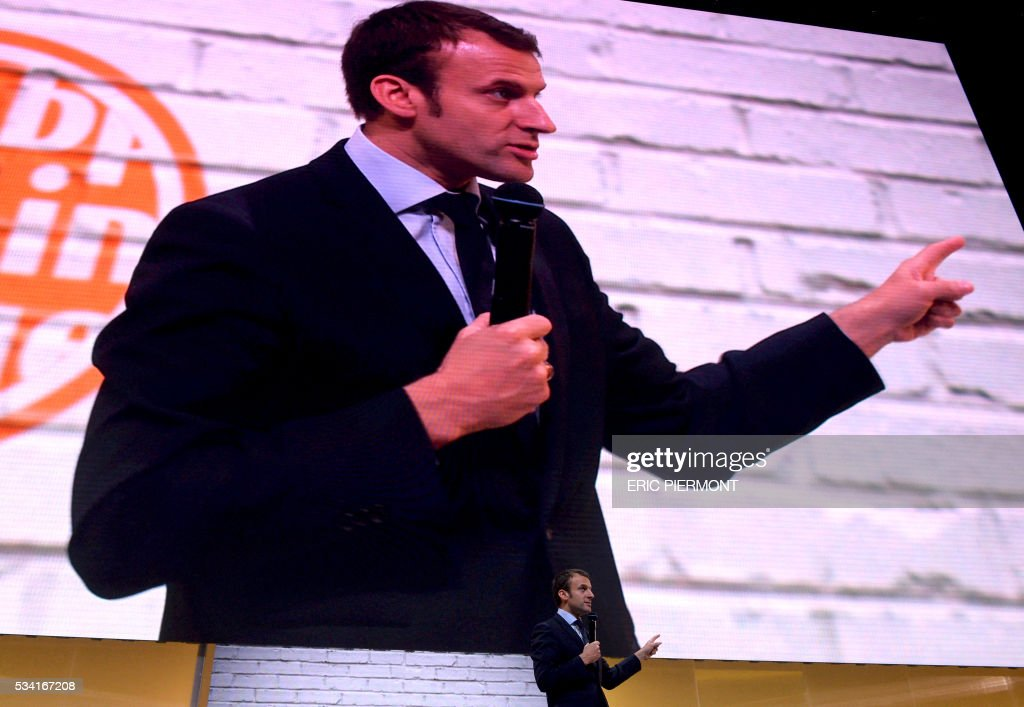France's Minister for Econmy Emmanuel Macron delivers a speech during the second edition of the entrepreneurial event Bpifrance Inno Generation on the theme of 'Let's build together the world of tommorrow' at the AccorHotels Arena in Paris on May 25, 2016. / AFP / ERIC