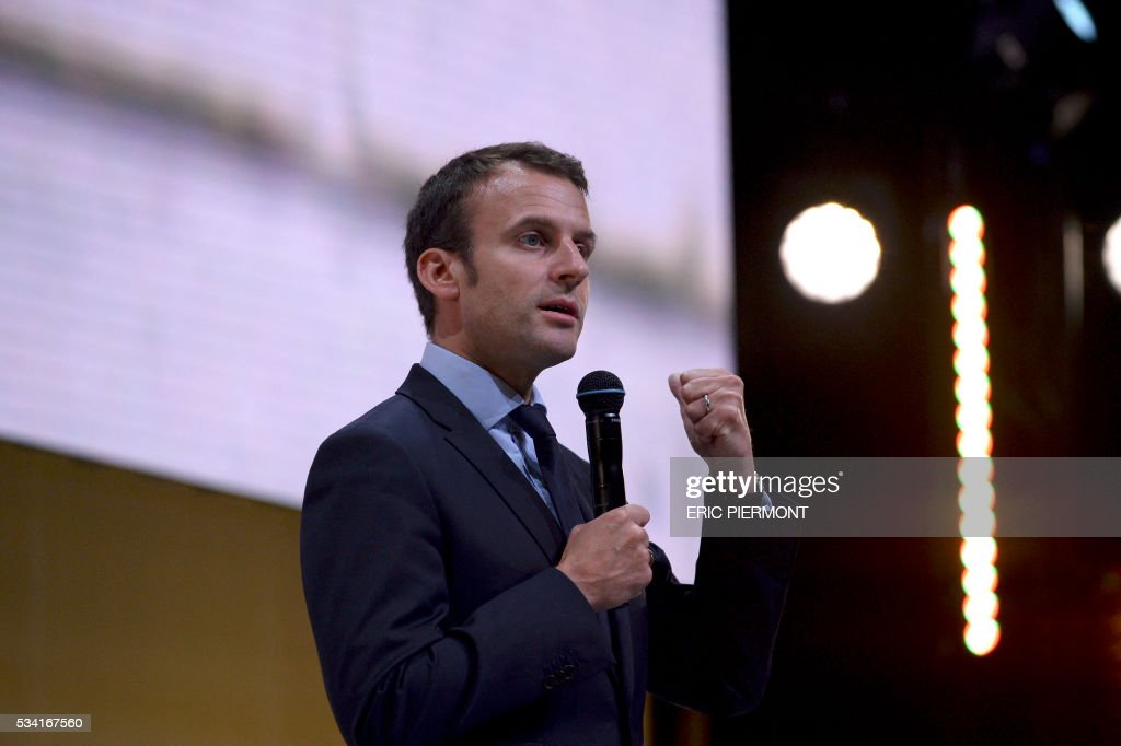 France's Minister for Econmy Emmanuel Macron delivers a speech during the second edition of the entrepreneurial event Bpifrance Inno Generation on the theme of 'Let's build together the world of tomorrow' at the AccorHotels Arena in Paris on May 25, 2016. / AFP / ERIC