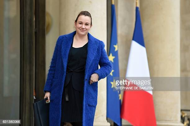 France's Minister of State for Digital Sector and Innovation Axelle Lemaire arrives on January 10 2017 to attend a ceremony for the French...