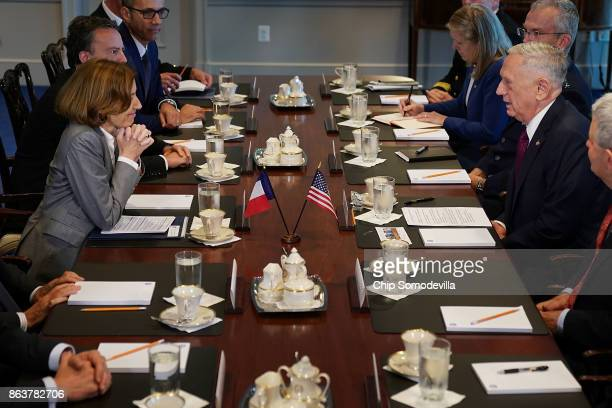 France's Minister of the Armed Forces Florence Parly and US Defense Secretary James Mattis sit down for meeting with their respective staffs at the...