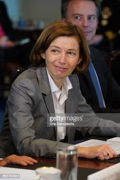 France's Minister of the Armed Forces Florence Parly participates in a meeting with US Defense Secretary James Mattis at the Pentaon October 20 2017...