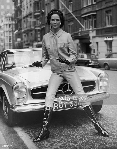 Frances models a leather trouser suit by Hagstrom during Finnish Fashion Week in London 13th April 1969