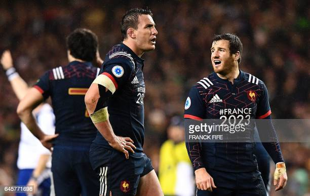 France's N°8 Louis Picamoles and France's fly half Camille Lopez react during the Six Nations international rugby union match between Ireland and...