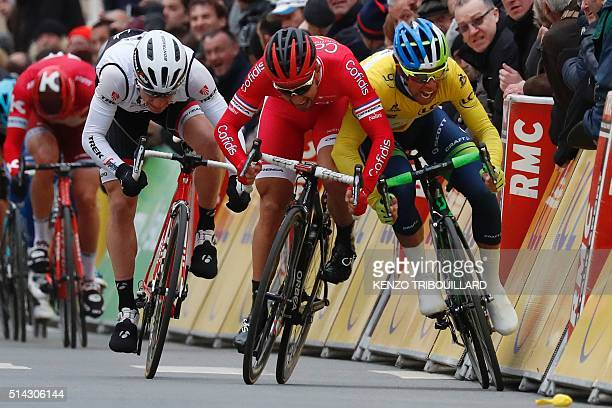 France's Nacer Bouhanni swerves into Australia's Michael Matthews during the final sprint of the second stage of the 74th edition of the ParisNice...