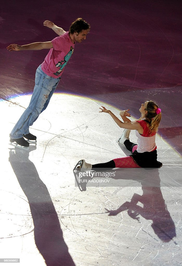 France's Nathalie Pechalat and Fabian Bourzat perform during the exhibition gala of the World Figure Skating Championships on March 28, 2010 at the Palavela ice-rink in Turin.