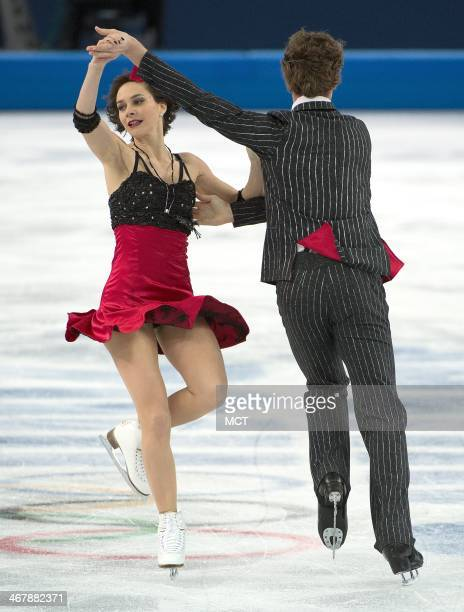 France's Nathalie Pechalat and Fabian Bourzat perform during the team pairs ice dance short dance program at the Iceberg Skating Palace at the Winter...