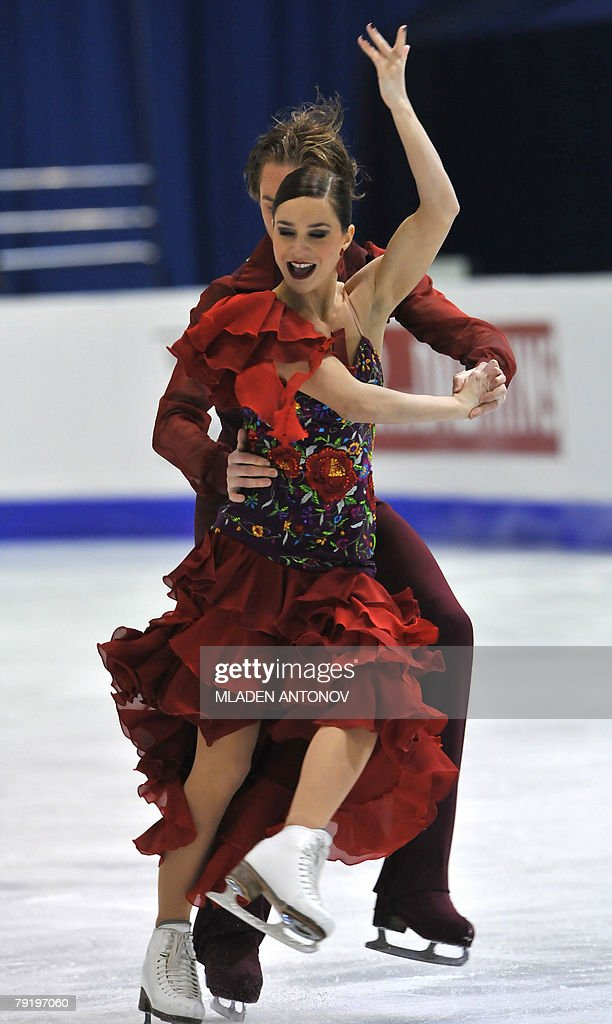 France's Nathalie Pechalat and Fabian Bourzat perform their original dance at the Dom Sportova Arena in Zagreb, 24 January 2008, during the European Figure Skating Championships 2008.