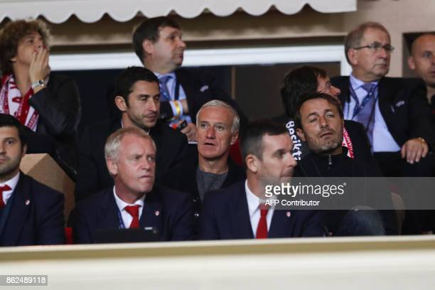 France's national football team coach Didier Deschamps attends the UEFA Champions League group stage football match between Monaco and Besiktas on...
