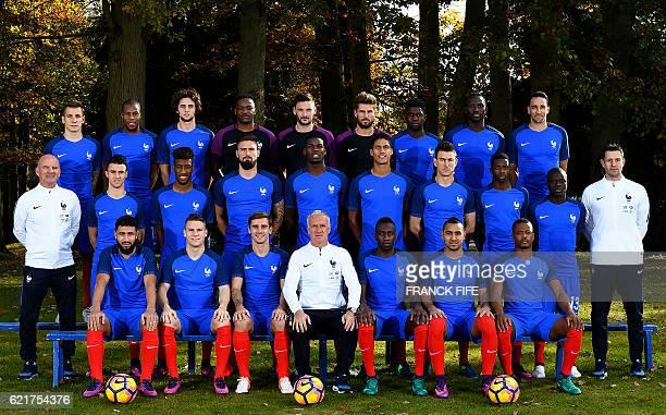 France's national football team France's defender Lucas Digne defender Djibril Sidibé midfielder Adrien Rabiot goalkeeper Steve Mandanda goalkeeper...