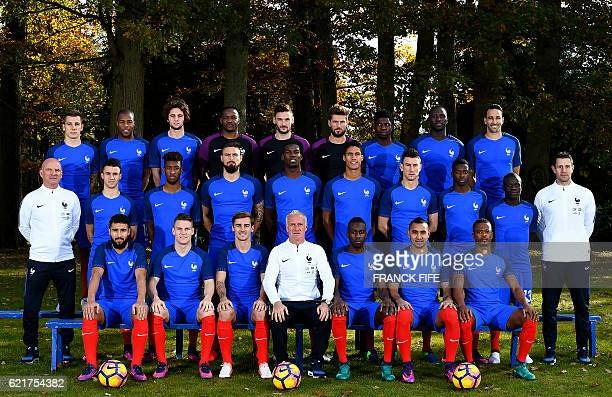 France's national football team France's defender Lucas Digne defender Djibril Sidibé midfielder Adrien Rabiot goalkeeper Steve Mandanda goalkeeper...