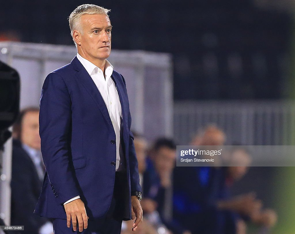 France's national football team head coach <a gi-track='captionPersonalityLinkClicked' href=/galleries/search?phrase=Didier+Deschamps&family=editorial&specificpeople=213607 ng-click='$event.stopPropagation()'>Didier Deschamps</a> looks on during the International friendly match between Serbia and France at the Stadium JNA on September 07, 2014 in Belgrade, Serbia, 2014.