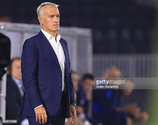 France's national football team head coach Didier Deschamps looks on during the International friendly match between Serbia and France at the Stadium...