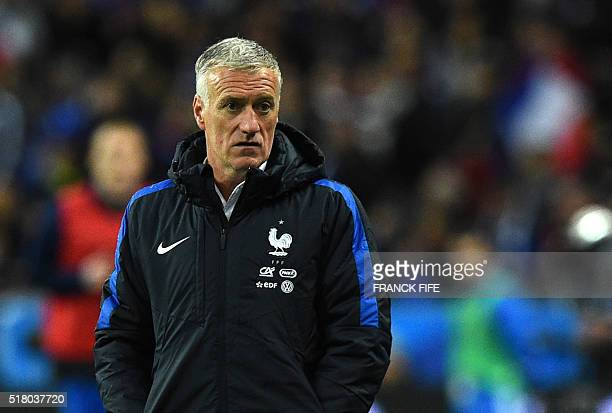FRance's national football team head coach Didier Deschamps looks on during the international friendly football match between France and Russia at...