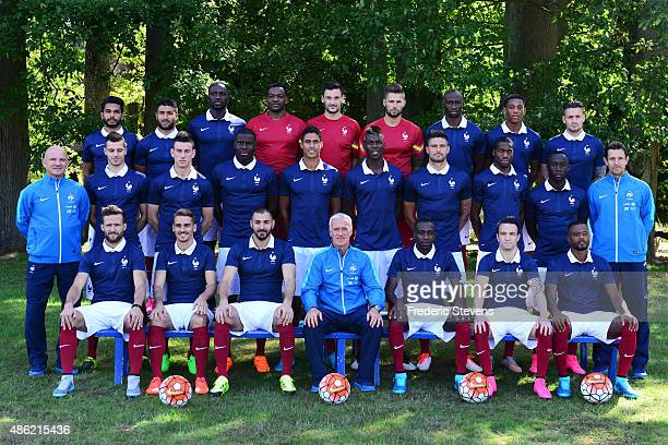 France's national football team members pose during the official presentation 20152016 pictures at the french training center Back Row defender...
