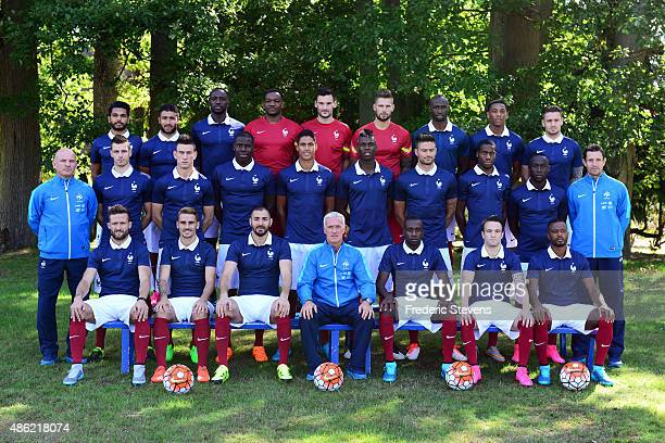 France's national football team members pose during the official presentation 20152016 pictures back row defender Benoit Tremoulinas forward Nabil...